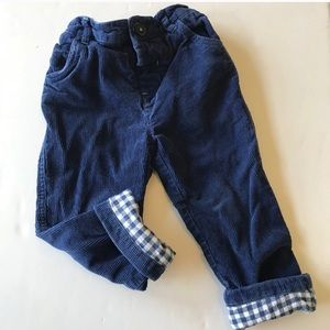 Boden gingham lined corduroy pants